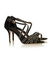 Tory Burch Black Breanna Metallic-trimmed Suede Sandals