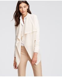 Ann Taylor | Natural Mesh Stitch Open Cardigan | Lyst