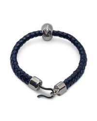 Alexander McQueen Bright Blue Leather Skull Bracelet