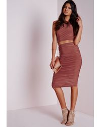 Missguided Red Slinky Side Ruched Midi Skirt Terracotta