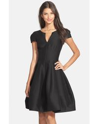 Halston Black Cotton & Silk Fit & Flare Dress
