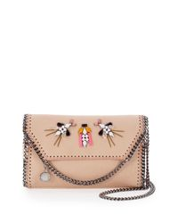 Stella McCartney - Natural Tiny Faux-Leather Embellished Bag - Lyst