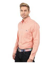 Vineyard Vines - Orange Bay Road Gingham Slim Tucker Shirt for Men - Lyst