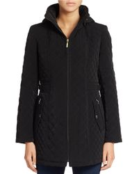 Gallery | Black Hooded Quilted Coat | Lyst