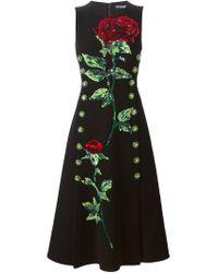 Dolce & Gabbana - Black Sequins Embroidered Rose Dress - Lyst
