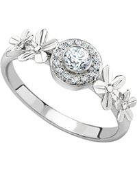 Theo Fennell | Metallic 18ct White-gold And Diamond Forget Me Not Tryst Ring | Lyst