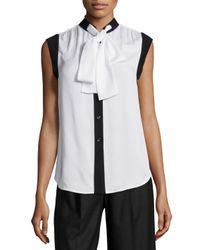 MICHAEL Michael Kors - White Tie-neck Sleeveless Silk Top - Lyst
