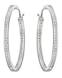 Swarovski Metallic Ready Silvertone Oval Crystal Hoop Earrings