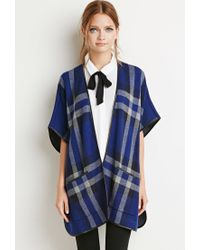 Forever 21   Blue Plaid Poncho Sweater   Lyst