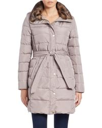 Ellen Tracy | Brown Faux Fur-trimmed Belted Coat | Lyst