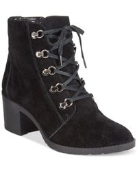 Anne Klein Black Karsen Lace-up Booties