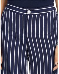 Lauren by Ralph Lauren Blue Petite Striped Wide-leg Pant