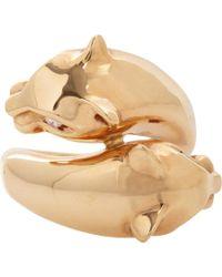 Sidney Garber | Metallic Diamond & Rose Gold Panther Ring | Lyst