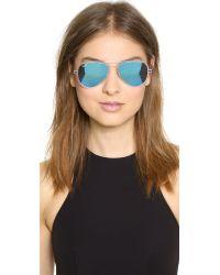 Ray-Ban Blue Tech Light Aviator Sunglasses - Matte Transparent/Green Mirror