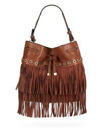 Sondra Roberts | Brown Studded Fringe Bucket Bag | Lyst