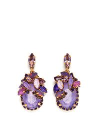Aerin Purple X Erickson Beamon Crystal Drop Earrings