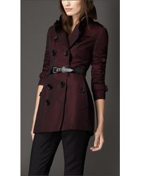 Burberry | Red Equestrian Detail Cotton Gabardine Trench Coat | Lyst