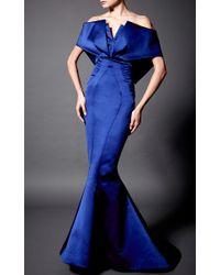 Zac Posen Blue Double Face Duchesse Off The Shoulder V-neck Gown