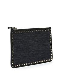 Valentino - Blue Large Rockstud Leather Pouch Bag - Lyst