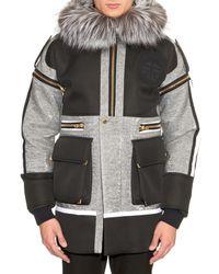 Astrid Andersen Gray Fox Fur-trimmed Detachable-sleeved Parka for men