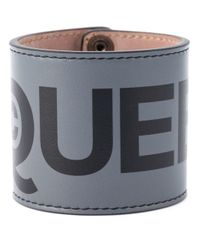 Alexander McQueen - Black Logo Print Cuff for Men - Lyst
