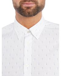 Ben Sherman | White Optic Circular Geo Long Sleeve Shirt for Men | Lyst