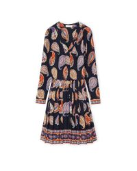 Tory Burch | Multicolor Pleated Paisley Print Dress | Lyst
