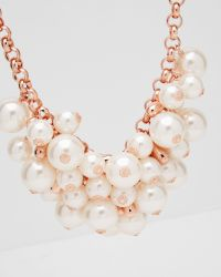 Ted Baker | Pink Pearl Cluster Necklace | Lyst