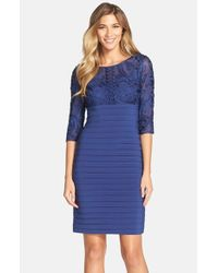Adrianna Papell Blue Soutache Shutter Pleat Sheath Dress