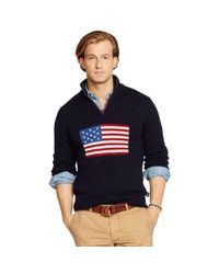 Polo Ralph Lauren Blue Flag Half-zip Sweater for men