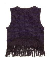 Apiece Apart Blue Pablita Knit Fringe Tank
