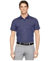 Calvin Klein - Blue Twill Stripe Shirt for Men - Lyst