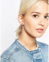 ASOS | Metallic Gold Plated Sterling Silver Solid Bar Earrings | Lyst