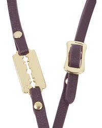 McQ - Purple Bordeaux Razor Leather Wrap Bracelet - Lyst