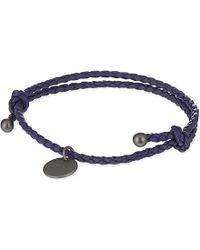 Bottega Veneta - Blue Intrecciato Nappa-Leather Bracelet - For Women - Lyst