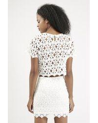 TOPSHOP - White Crochet Crop Top By Goldie - Lyst