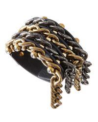 Lanvin Metallic Woven Leather  Chain Crystal Cuff Bracelet