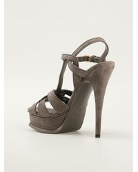 Saint Laurent - Gray 'tribute' Sandals - Lyst