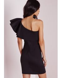 Missguided One Shoulder Ruffle Bodycon Dress Black