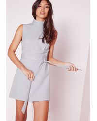 Missguided Multicolor High Neck Tie Waist Shift Dress Grey