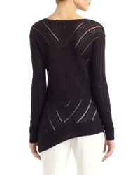 BCBGMAXAZRIA - Blue Chevron Knit Asymmetric Hem Sweater - Lyst