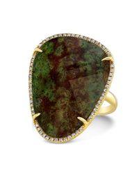 Anne Sisteron - Green 14kt Yellow Gold Blood Stone Diamond Organic Shape Diamond Cocktail Ring - Lyst
