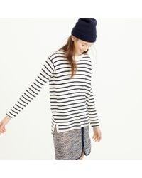 J.Crew - Blue Striped Leather Panel Swing Sweater - Lyst