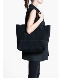 Mango Black Suede Shopper Bag