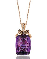Le Vian | Purple 14k Rose Gold Amethyst And Diamond Pendant Necklace | Lyst