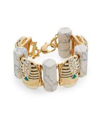Lele Sadoughi Metallic Egyptian Deco Howlite & Marble Scarab Bracelet
