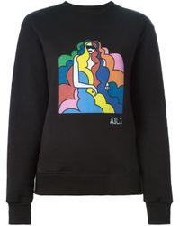 Au Jour Le Jour - Black Printed Sweatshirt - Lyst