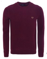 Fred Perry | Red Herringbone Knit Wool Jumper for Men | Lyst
