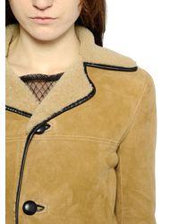 Saint Laurent Natural Suede & Shearling Coat
