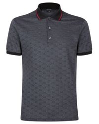 Gucci Gray Grey Monogrammed Polo Top for men